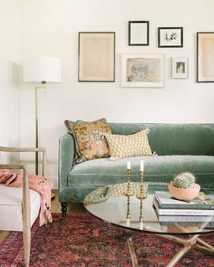 Step Inside an Actress's Cozy and Eclectic Living Room - Floriana Lima's living room by Ginny Macdonald. Love the soft green Fabienne sofa from Lulu & Georgia Living Room Green, Living Room Sofa, Home And Living, Living Room Furniture, Gallery Wall Living Room Couch, Living Room White Walls, Small Living, Modern Living, Pastel Living Room