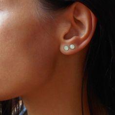 Opal Stud Earrings Double Piercing Stud Earrings Mint by Maleena09