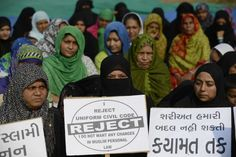 Indian Muslim women rally to oppose the Uniform Civil Code (UCC) that would outlaw the practice of instant divorce of women, in Ahmedabad in 2016. (Sam Panthaky/Agence France-Presse via Getty Images)