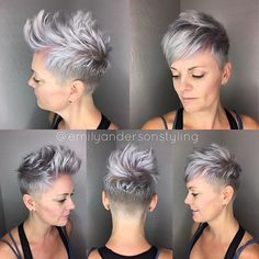 If you watched my instastory yesterday, you saw it was a short hair parade all day. First up was this platinum pixie. She had been growing it out and was done with the longer pixie. We wanted it versatile for her to faux-hawk and wear down to either side. I'm loving that we let her natural come through from the temples down. @uberliss is used at every step for her platinum locks to stay healthy. #uberliss She's toned this time with the @kenraprofessional SV on the roots only…