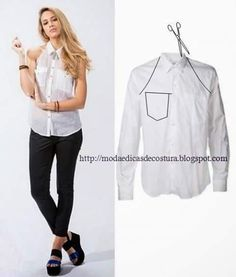 Repurpose Old Shirts into tops repurpose or restyle men's shirts into something new such as tops, dresses for ladies or family. Shirt Refashion, Diy Shirt, Diy Kleidung, Diy Vetement, Old Shirts, Refashioning, Clothing Hacks, Mode Inspiration, Dressmaking