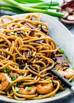 These Shrimp Shiitake Noodles are loaded with earthy shiitake mushrooms, juicy, plump shrimp and oodles of noodles in a yummy soy sauce and butter sauce.