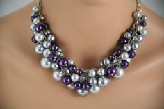 Chunky gray pewter and purple necklace - bridesmaids jewelry,wedding necklace, bridal party jewelry
