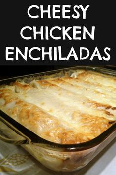 Cheesy Chicken Enchiladas My family's FAVORITE chicken enchilada bake drenched in queso cheese made with tortillas stuffed with a creamy filling of tender flavorful chicken and taco seasoning. Cheesy Chicken Enchiladas, Chicken Enchilada Casserole, Enchilada Recipes, Enchiladas Healthy, Enchilada Soup, Cream Cheese Chicken, Cream Of Chicken Soup, Chicken Chorizo, Keto Chicken