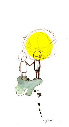 "Illustration ""Liebe"" als Wanddeko, Zeichnung / drawn illustration, couple love made Holli Paola Zakimi by via DaWanda.com"