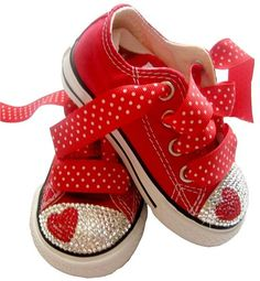 Swarovski heart Converse sneakers: red canvas with crystal rhinestones and polka dot ribbon laces. Because a little girl can never have too many sparkles or too many hearts!