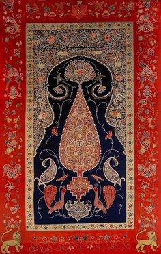 Antique silk Rashti-Duzi, Persian, ca. 1860.
