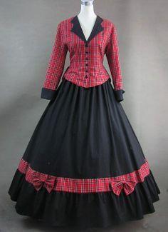 Red Plaid manga larga vestido victoriano Noble