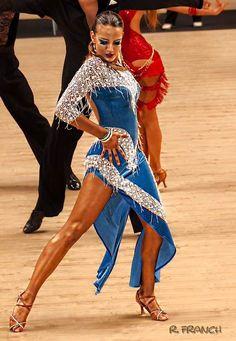 : Blue velvet and silver trim asymmetric hem Latin dress - Abraham Martinez Ballroom Costumes, Dance Costumes, Latin Ballroom Dresses, Ballroom Dancing, Latin Dresses, Baile Latino, Salsa Dress, Dance Shirts, Dance Outfits