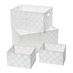 Disponible sur Boutiquedubain.com Set de 4 Paniers de Rangement Blanc
