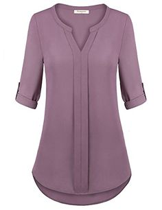 Nomorer Women Blouse Tops, V Neck Cuffed Long Sleeve Contrast Piped Pleat Front Flattering Fit Tops Pink XL Turkish Clothing Online, Dress Shirts For Women, Blouses For Women, Blouse Styles, Blouse Designs, Hot Pink Blouses, Designs For Dresses, Online Shopping Clothes, Chiffon Tops