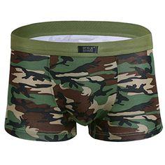 6b28135a5dd TiaoBug Men Camouflage Boxer Briefs Shorts Underwear Army Green Large Waist  245330 >>> Check
