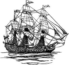 Old, Water, Outline, Drawing, Sailing, Free, Line, Ship
