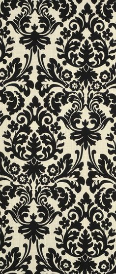 Items similar to Indoor / Outdoor Weather Resistant Fabric By The Yard - Waverly Sun N Shade Essence Onyx - Black Ivory Elegant Damask Scroll on Etsy Damask Curtains, Damask Decor, Textiles, Textile Patterns, Damask Patterns, Decoupage, Curtain Patterns, Curtain Designs, Quilt Material