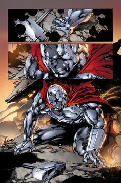 Steel out right now. Lines by Steel 1 Comic Book Superheroes, Comic Book Heroes, Comic Books Art, Comic Art, Book Art, Dc Comics Characters, Dc Comics Art, Steel Dc Comics, Univers Dc