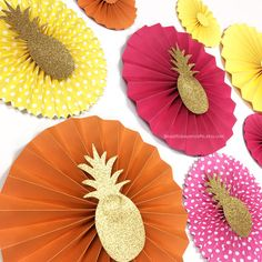 9pc Summer Paper Fans | Luau Birthday Party| Hot Pink, Yellow & Orange Paper Rosettes | Paper Fans Backdrop | Summer Pool Birthday Party | by BeautifulPaperCrafts