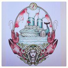 #paquebot #baleine #crevette #crabe #meduse #boussole #rockyzero #rockyzerotattoo #turbozero