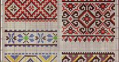 Patrón gratuito para hacer greca , se puede hacer tanto en punto de cruz como tejido en dos agujas. Son cenefas rectas en varios colores. ...