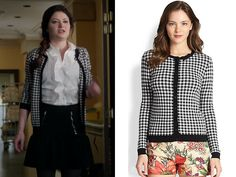 "Red Valentino Gingham Cardigan as worn by Belle in episode 3x20 ""Kansas"" ($297)"