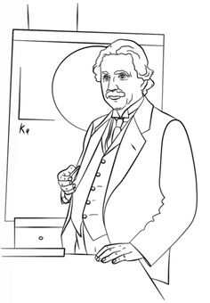 Albert Einstein coloring page (Use as a cover sheet or