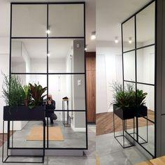 Mirror Room Divider, Steel Doors, Loft, Bathrooms, Furniture, Home Decor, Living Room, Door Entry, Decoration Home