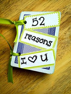 52 reasons I love you> cute gift idea Diy Craft Projects, Crafts To Make, Fun Crafts, Paper Crafts, Cute Gifts, Diy Gifts, 52 Reasons Why I Love You, Love You Cute, My New Room