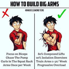 HOW TO BUILD BIG ARMS BY @musclemonsters _ The keys to building bigger arms are not much different than most other muscle groups. _ 1. Train your arms 2-3x per week and aim to perform 10-20 sets weekly (for biceps and triceps). _ 2. Heavy compound lifts should be the meat of your workouts. Start off with heavy chin ups or close grip bench press and then move on to the smaller isolation lifts for more volume. _ 3. Use the muscles. Avoid swinging and jerking and focus on controlled pushing and…
