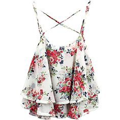 Choies White Layer Floral Print Cross Back Cami Top ($17) ❤ liked on Polyvore featuring tops, shirts, crop tops, tank tops, white, white crop tank, white camisole, crop shirts, floral print shirt and floral tank top