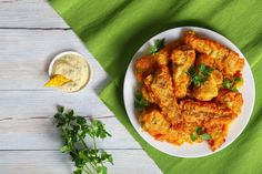 batter fried perch served on white plate White Plates, Tandoori Chicken, Curry, Dishes, Ethnic Recipes, Food, Curries, White Dinner Plates, Tablewares