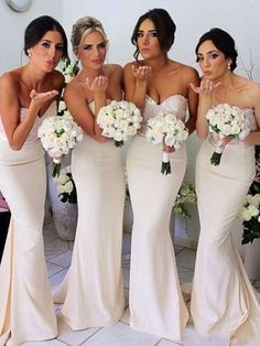 mermaid bridesmaid dresses, ivory bridesmaid dresses, strapless bridesmaid dresses, sequined bridesmaid dresses @veenrol