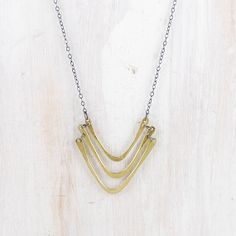 Silver and Brass 18 Necklace Gorge fail CANOE par failjewelry