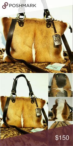 """Diane Gail Springbok Fur & Leather Handbag Absolutely gorgeous!!  Simply beautiful!!  This bag is for the person that loves the exotic--likes to walk on """"the wild side"""".  A real conversation piece!!  Do your research.  This bag, brand new with tags.  Only $150.00!!!!!  Price firm. Diane Gail Bags Shoulder Bags"""