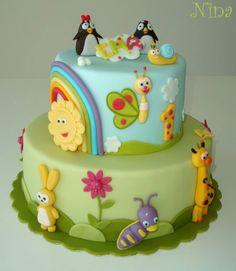 Baby Boy Shower Cakes No Fondant First Birthdays Ideas Fondant Cakes, Cupcake Cakes, Cupcakes, Baby Tv Cake, Little Pony Cake, Friends Cake, Baby Shower Cakes For Boys, Baby Birthday Cakes, Novelty Cakes
