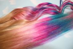 Handmade Ombre Pastel Tie Dye Tips Human Hair Extensions. Tie Dye Tips, Dyed Tips, Tie And Dye, Colored Hair Extensions, Clip In Hair Extensions, Tie Dye Hair, Dyed Hair, Pelo Multicolor, Hair Extension Clips