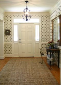 A DIY stenciled entryway using the Chain Link Allover Stencil.  http://www.cuttingedgestencils.com/link-stencil-pattern.html?utm_source=JCG&utm_medium=Pinterest%20&utm_campaign=Chain%20Link%20Allover%20Stencil
