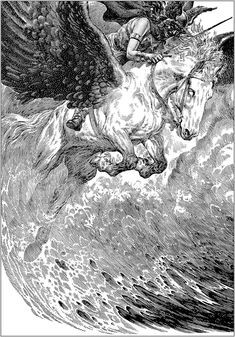 Virgil Finlay, Her Ways Are Death by Jack Mann, Famous Fantastic Mysteries combined with Fantastic Novels Caption: They saw Dark Lagny riding a Valkyr horse in the storm - choosing the dead. Gravure Illustration, Fantasy Illustration, Bd Art, Arte Alien, Art Du Croquis, Ink Pen Drawings, Foto Art, Black And White Illustration, Ink Illustrations
