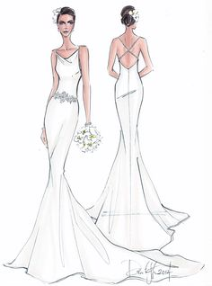 Illustrative Moments | custom bridal gown illustration| wedding gift | FRONTAL WITH BACK VIEW