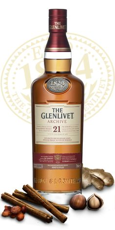 The Glenlivet 21 Year Old Single Malt Whisky. This 21 year old is produced in small, bespoke batches.  Each cask is nosed and approved, making every batch unique.  A sizable inventory of whisky of this age is extremely rare.  Photo: us.glenlivet.com