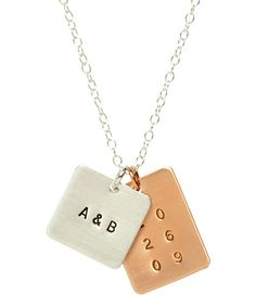 Anna Bee Jewelry Square & Rectangle 2 Initials & Date Tag Necklace