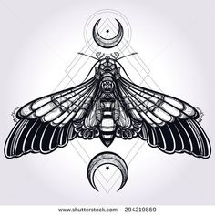 Butterfly moth with crescent moons, sacred geometry. Elegant design tattoo art. Isolated vector illustration. Trendy Vintage style element. Dark romance, love, occultism, alchemy, magic, mysticism.