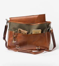 Leather & Canvas Messenger Backpack by QP Collections on Scoutmob