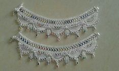 Payal Designs Silver, Silver Anklets Designs, Silver Payal, Anklet Designs, Necklace Designs, Silver Jewellery Indian, Gold Jewellery Design, Silver Jewelry, Silver Accessories