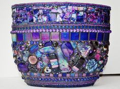 Private Commission - Large Stained glass, fused glass, Mosaic, Blue & prurple, Vase or Candle holder