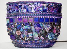 Mosaic Rainbow Vase oder Kerzenhalter von NikkiEllaWhitlock auf Etsy
