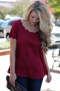 We say a big YES to the scallop detailing on our wine-colored Yours Truly Top Shop Dress Up, Bohemian, Classy, Comfy, Wine, My Style, Christmas, How To Wear, Shopping