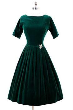 1950's velvet glamour dresses | dress blazing emerald green ...