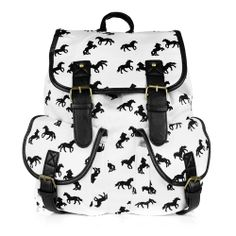 Plecak vintege retro KONIE biały SHOCK share&block duży mieści A4 regulowane szelki we wzór koni