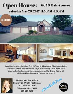 #ednasells, Open House, Tahlequah Homes, Oklahoma Homes