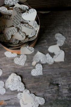 Wedding Confetti Decoration for Vintage or Literary Wedding Hearts. Good to throw, or have on table. We could also throw flower petals or do bubbles. Oh my word, remember throwing rice? Rustic Wedding Decorations, Wedding Themes, Themed Weddings, Wedding Ideas, Wedding Colors, Do It Yourself Wedding, Make It Yourself, Post Wedding, Dream Wedding