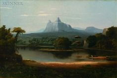 """Robert Scott Duncanson (American, 1821-1872)    Landscape  Signed """"R.S. Duncanson, 1851."""" l.c.  Oil on canvas, 15 x 22 in., framed.  Provenance: A private New England collection, perhaps acquired from the artist.  $56,400"""